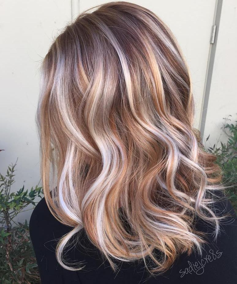 Strawberry Blonde and White Balayage