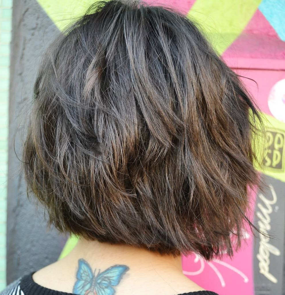 Dark Brunette Bob with Razored Layers