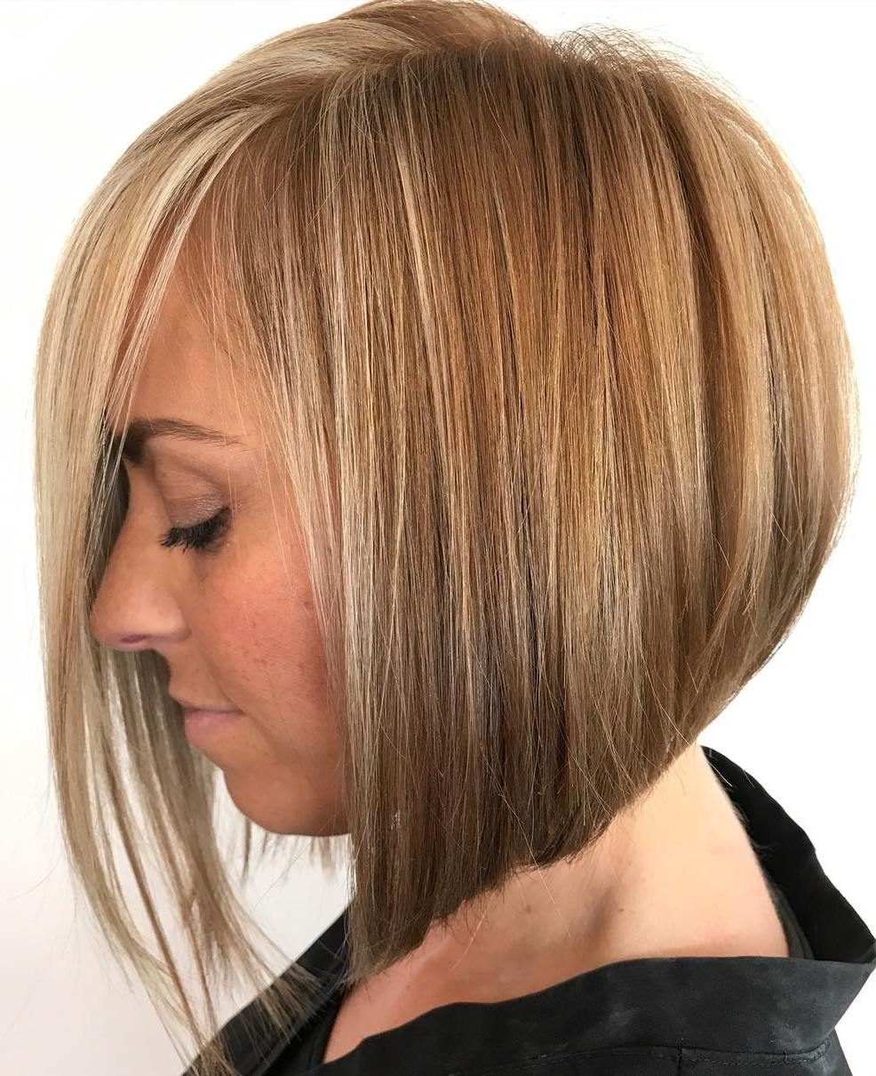 Caramel Bronde Angled Bob for Fine Hair with Face-Framing Strands