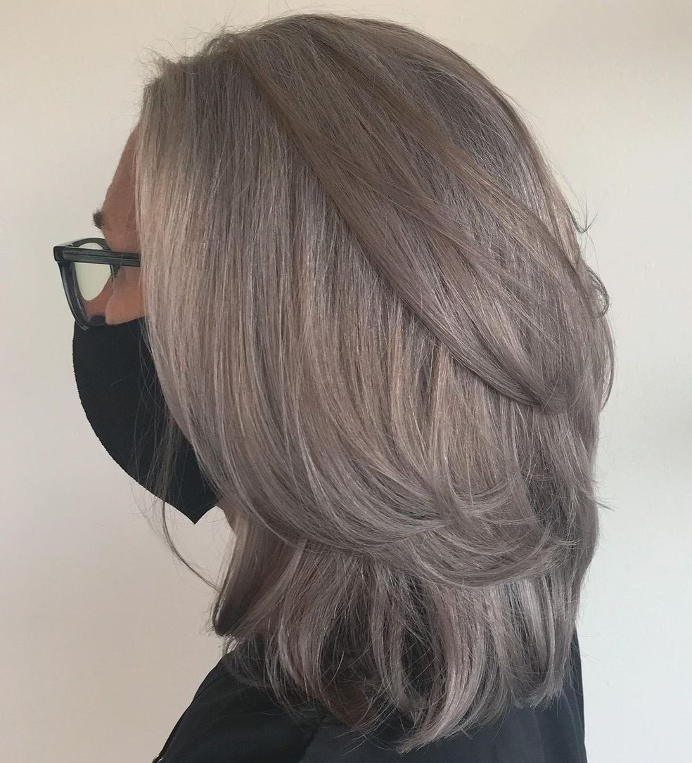Layered Gray Hair with Highlights