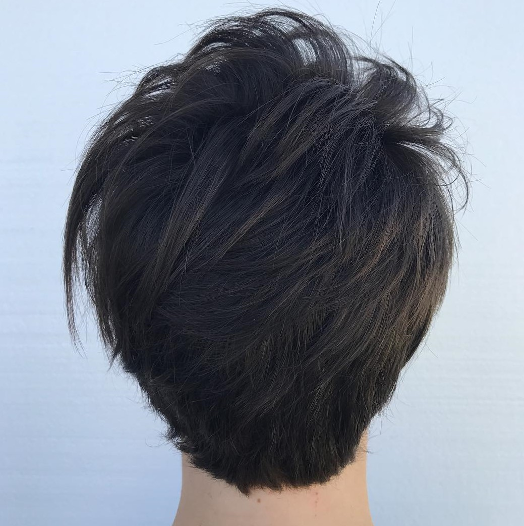 Short Layered Brunette Pixie with Longer Top