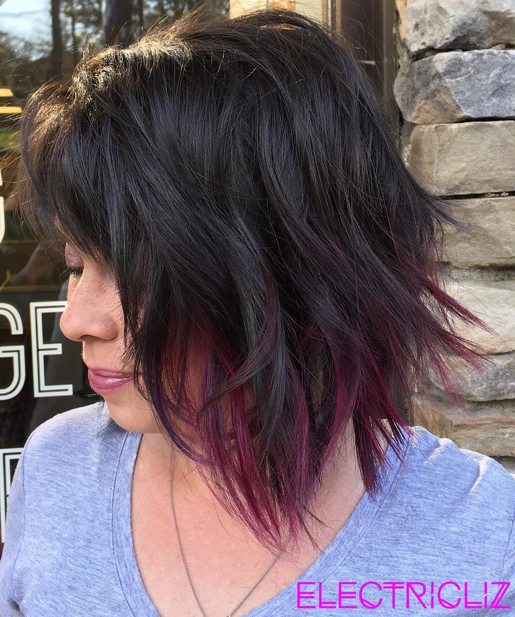 Shaggy Brunette Long Bob with Purple Ends for Thin Hair