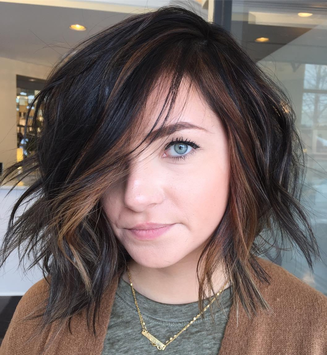 Choppy Shaggy Dark Bob with Blonde Accents