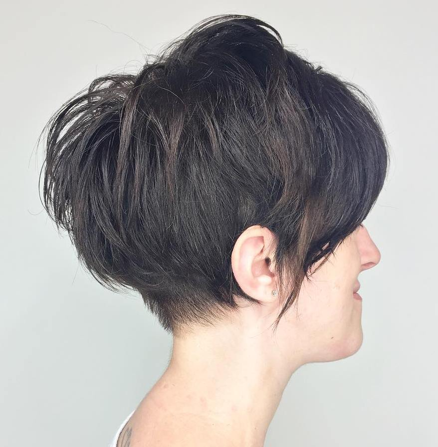 Long Messy Pixie with Feathered Crown Layers