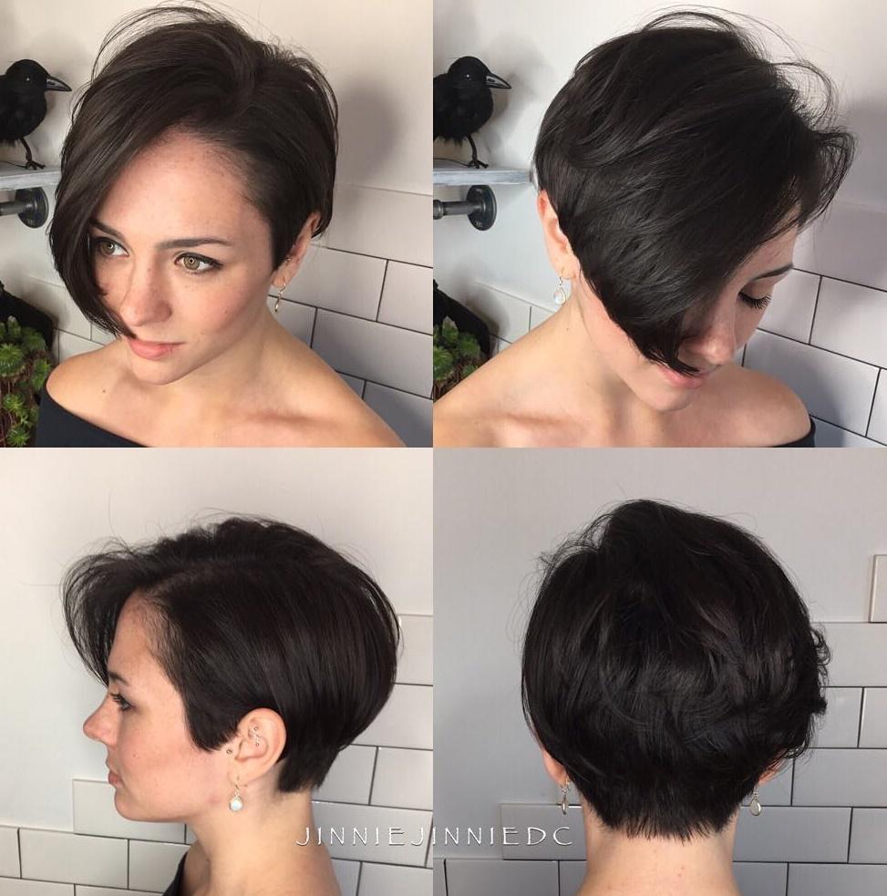 Asymmetrical Brunette Pixie Bob Haircut