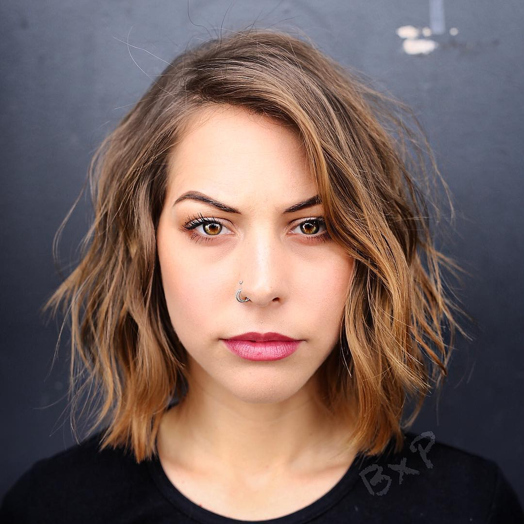 Medium Layered Warm Brown Bob