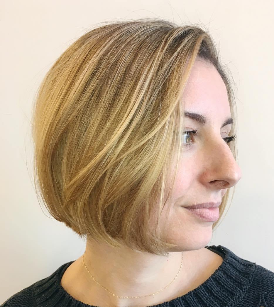 Side Parted Chin-Length Bob Hairstyle for Fine Hair