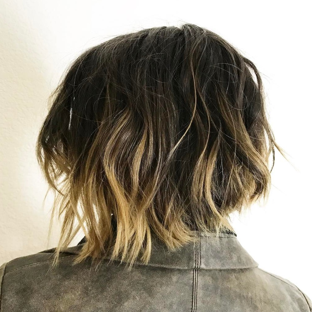 Dark Brown Shaggy Bob with Partial Blonde Highlights