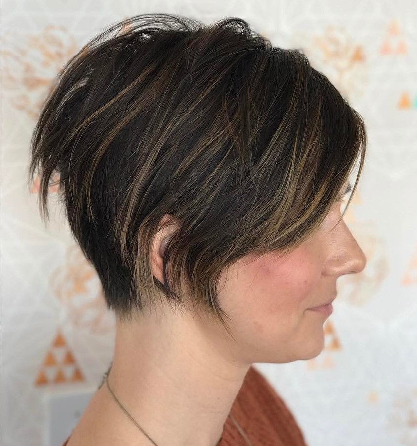 Dark Brown Pixie with Undercut, Bangs and Highlights