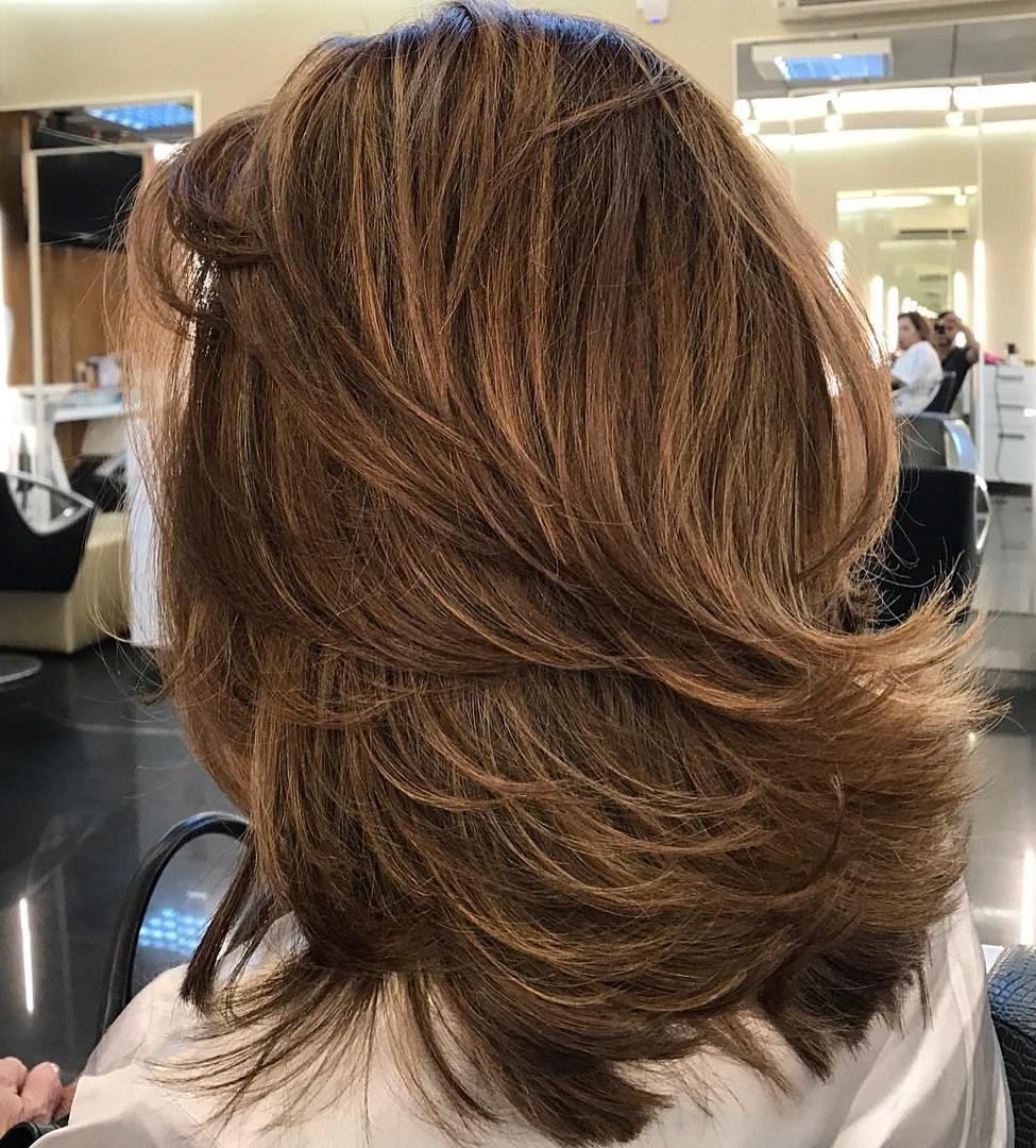 Bold Layered Warm Brown Hairstyle