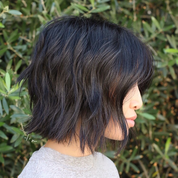 Black Razored Textured Bob with Bangs