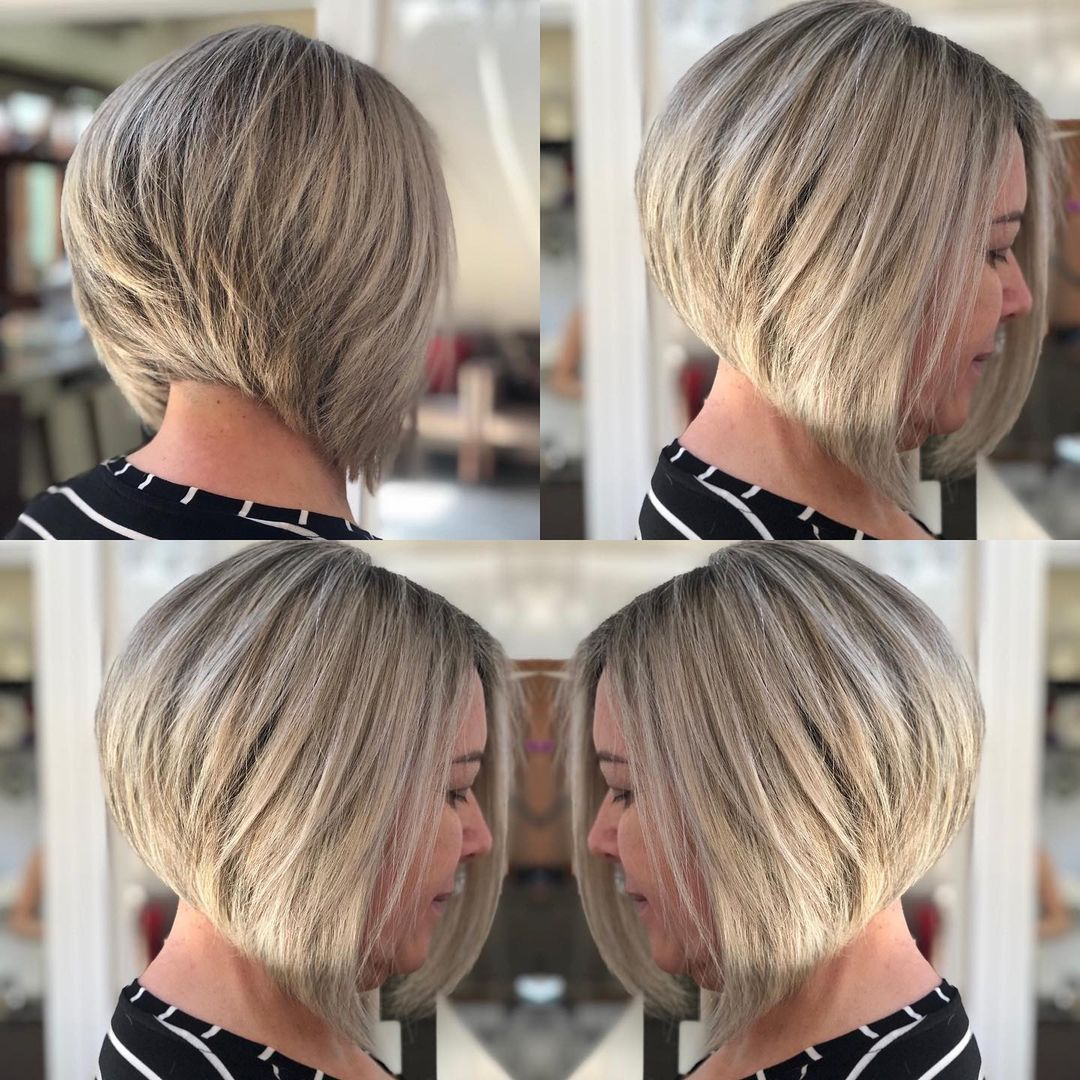 Stacked Bob Haircut for Older Women