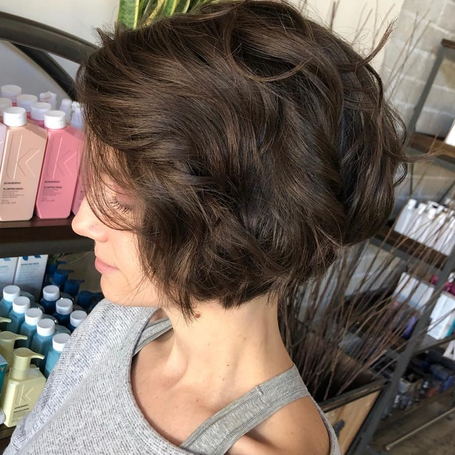 Very Short Wavy Brunette Bob for Thick Hair