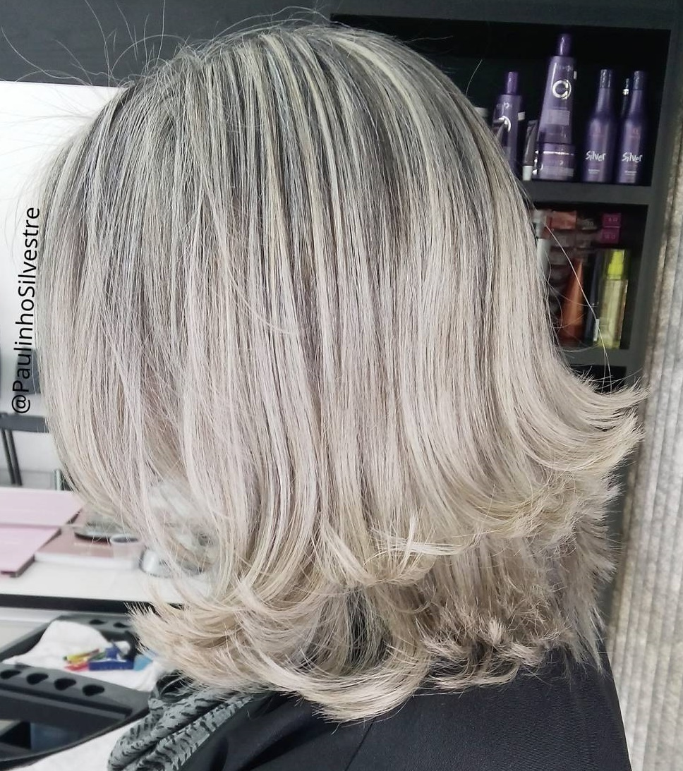 Blonde Two-Tier Hairstyle with Shadow Roots