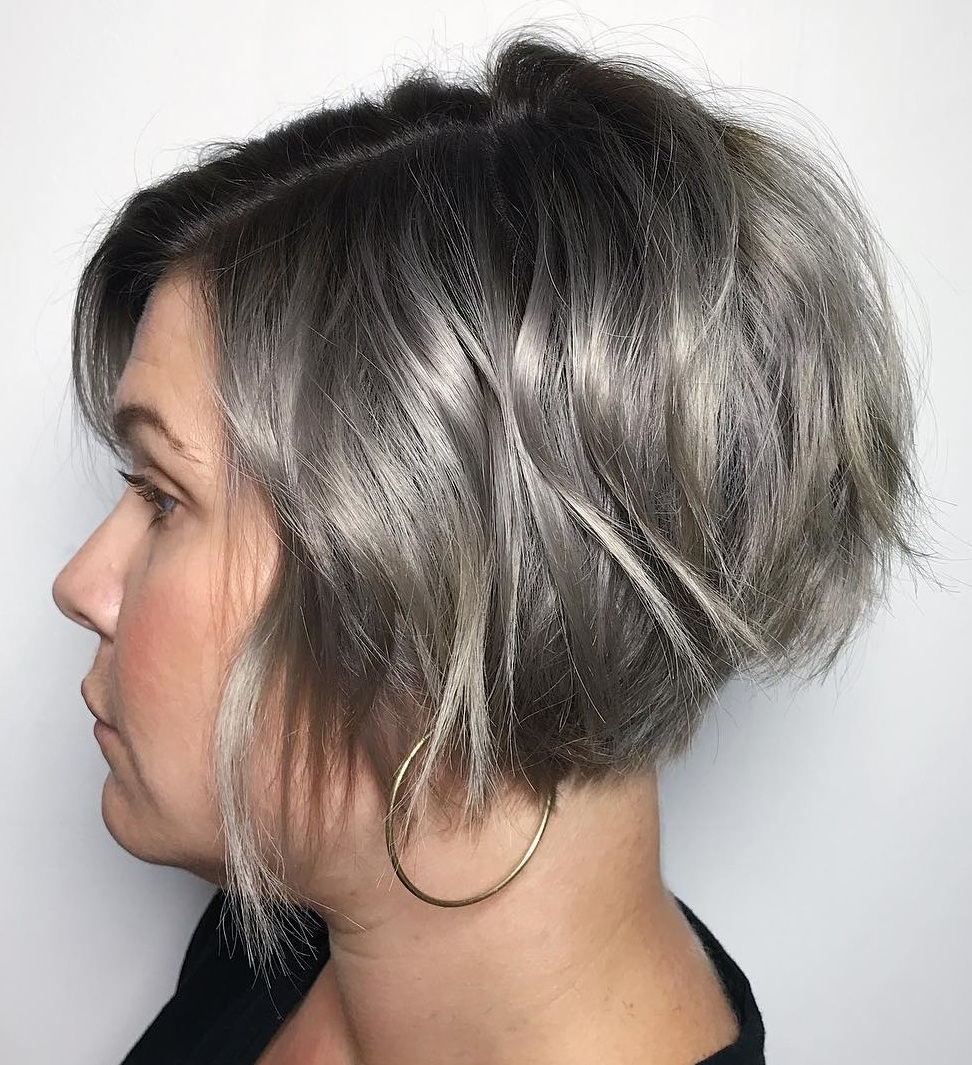 Short Razored Silver Brown Stacked Bob