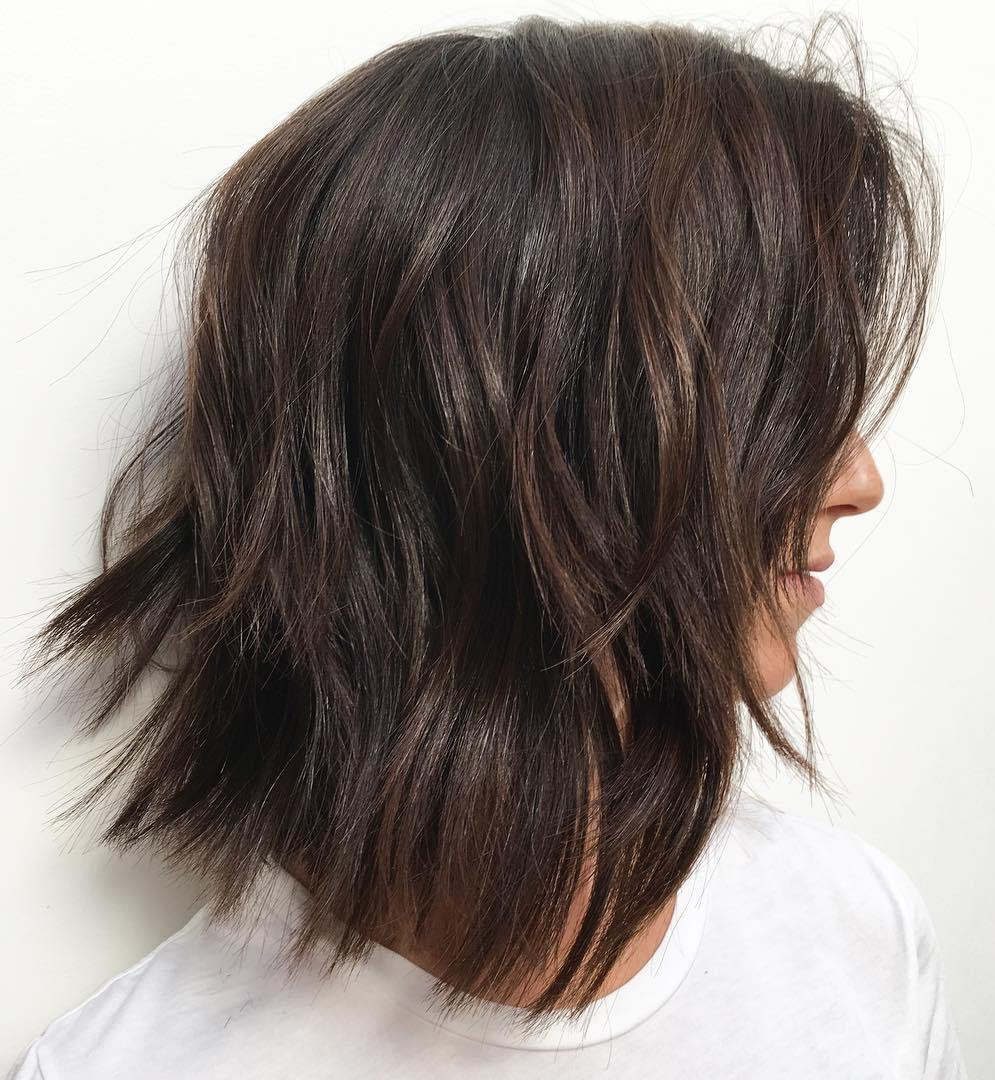 Brunette Bedhead Lob for Thick Hair