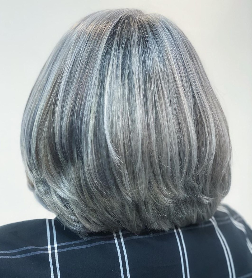 Salt-and-Pepper Balayage Bob