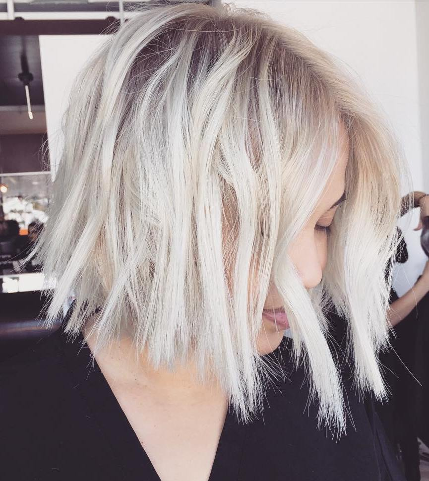 Disconnected Choppy White Blonde Fine Bob