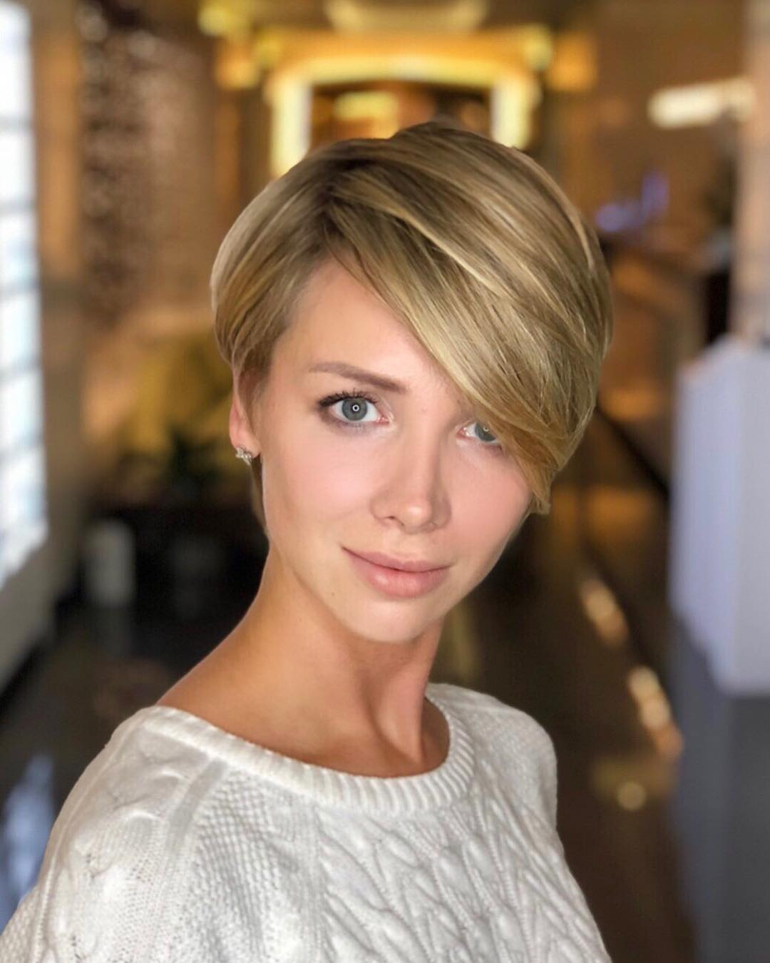 short pixie haircut to look taller