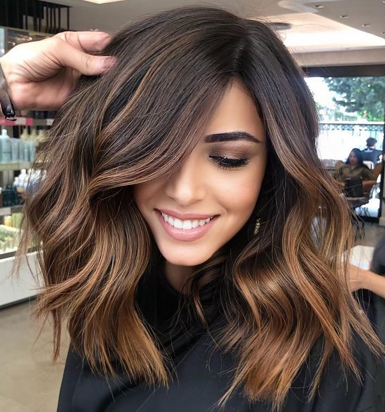 Thick Medium Haircut with Sun-Kissed Balayage