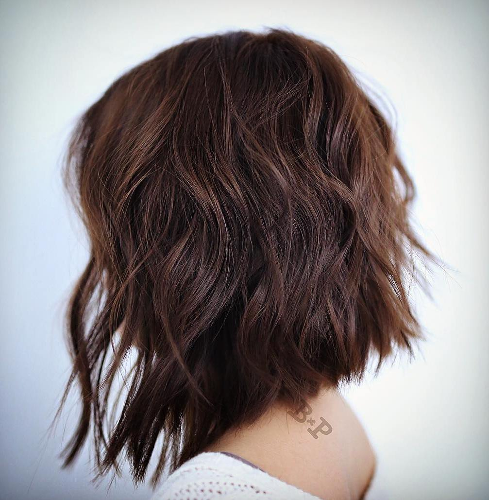 Long Angled Chocolate Brown Bob