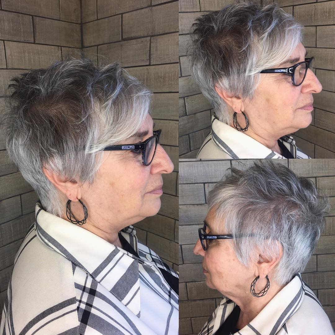Gray Pixie with Bangs for Women with Glasses