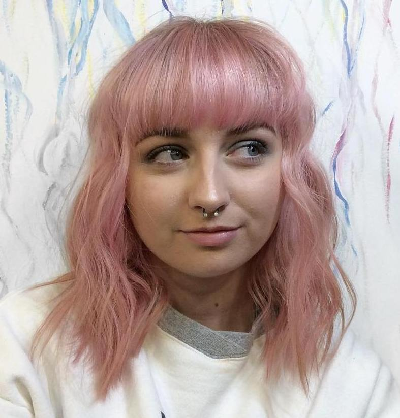 Pastel Pink Lob with Thick Blunt Bangs