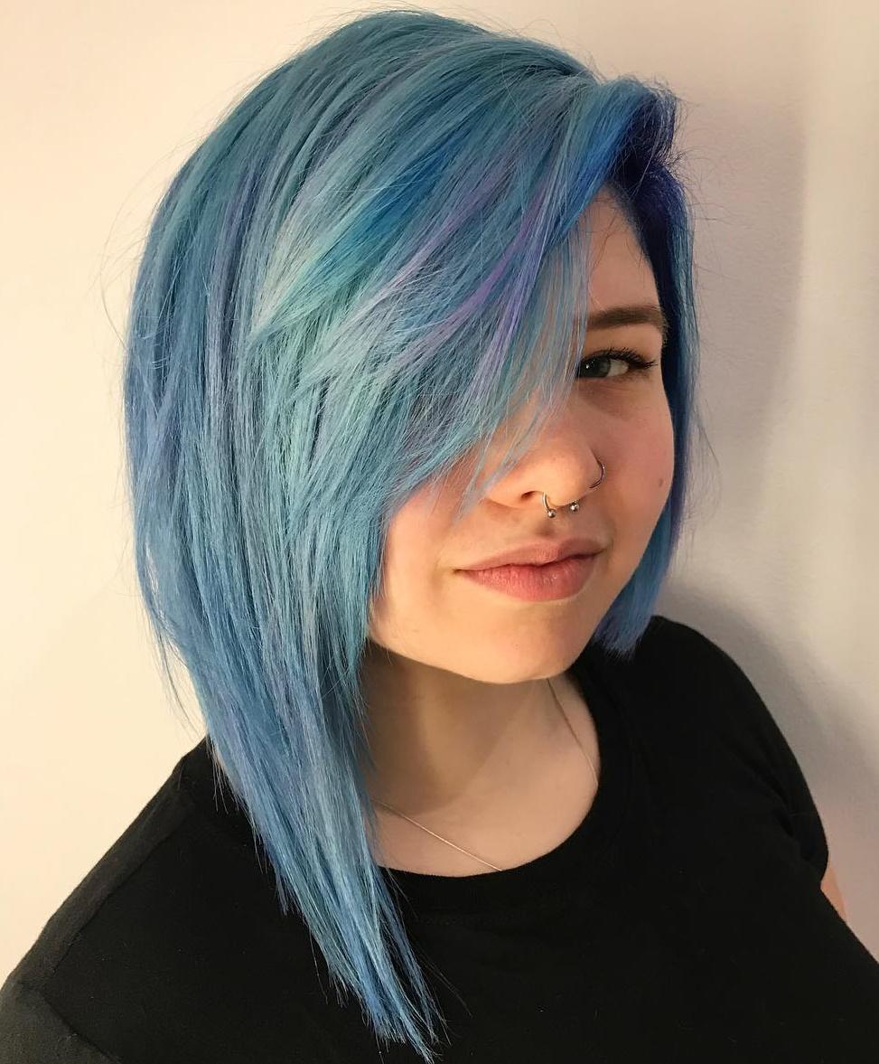 Asymmetrical Pastel Blue Bob with Bangs