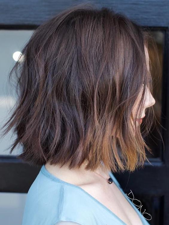 One Length Brown Bob with Copper Highlights