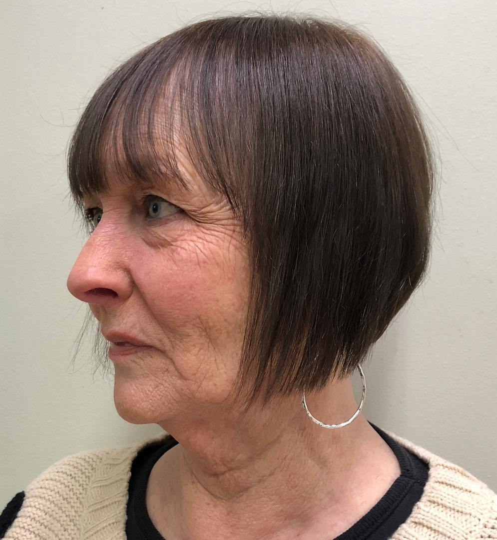 Straight Angled Bob with a Fringe