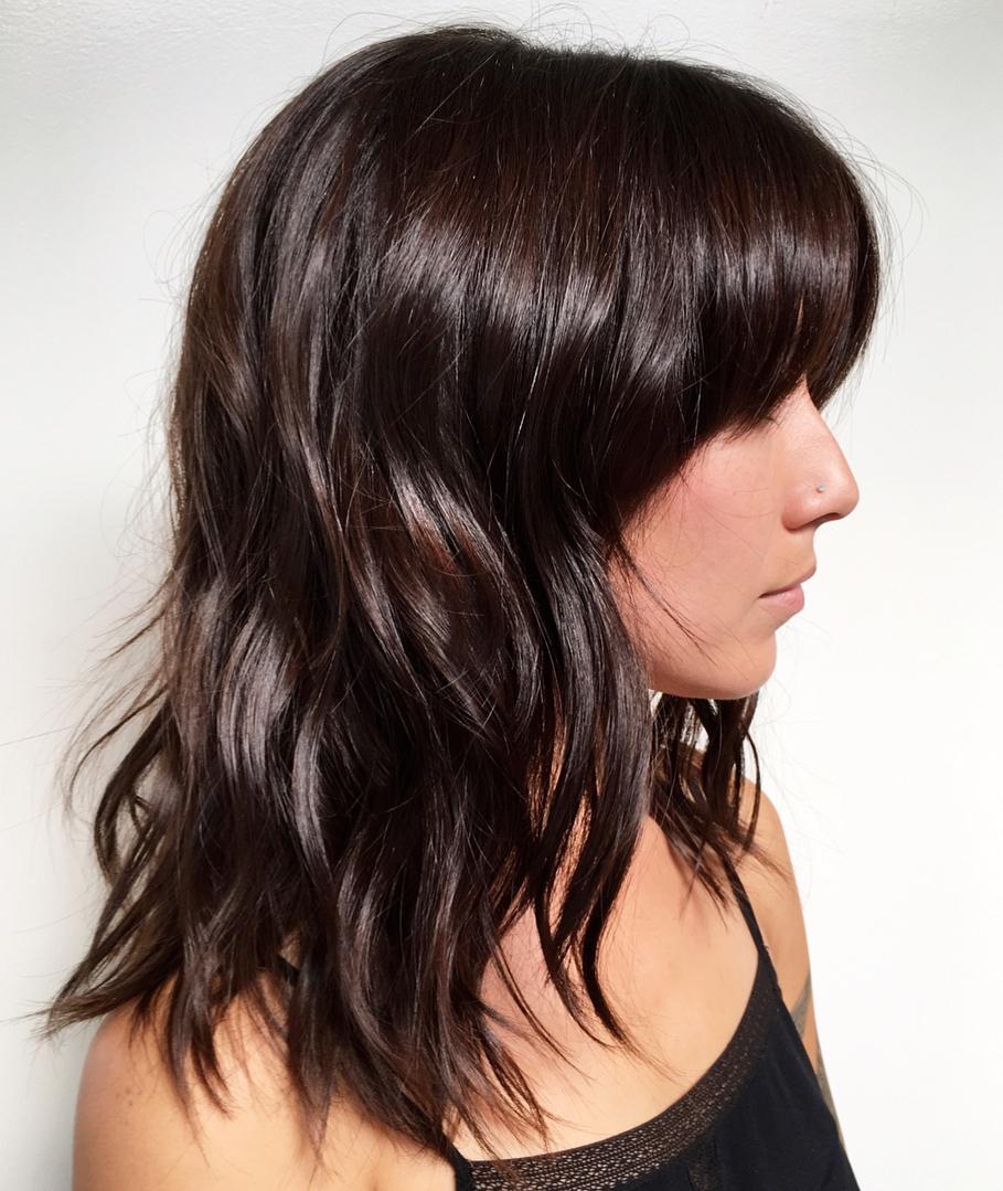 Medium Dark Brown Hair with Full Bangs