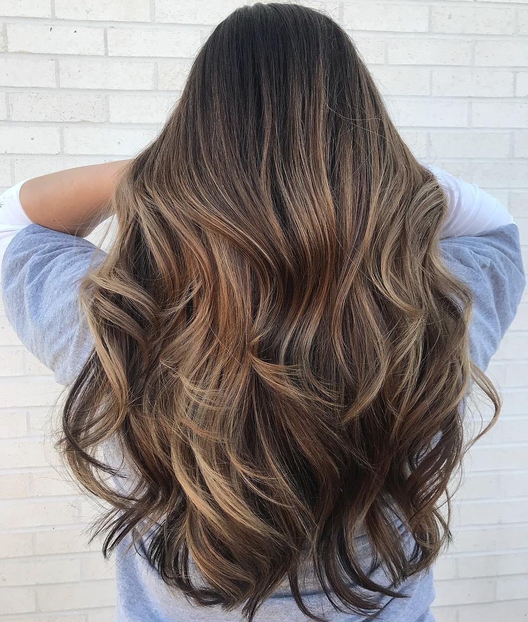 Waist-Length Wavy Brown Balayage Hair