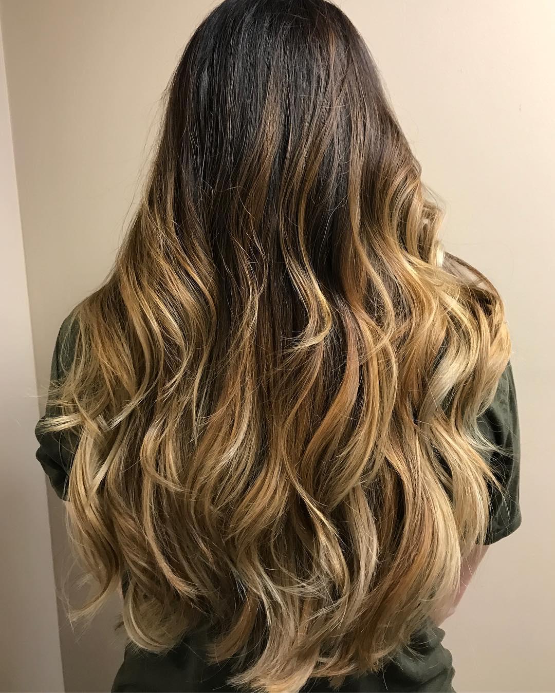 Caramel Blonde Balayage for Long Brown Hair