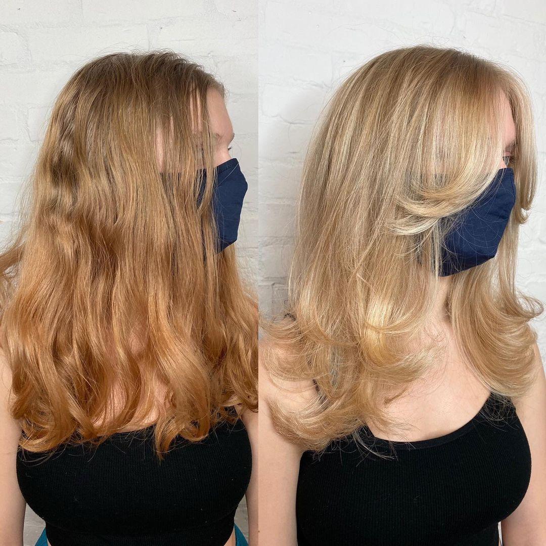 Long Haircut with Layers and Bangs