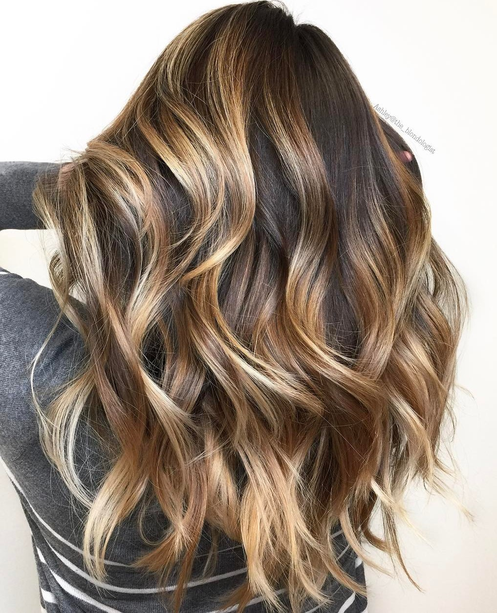 Long Brown Hair with Sun-Kissed Ombre