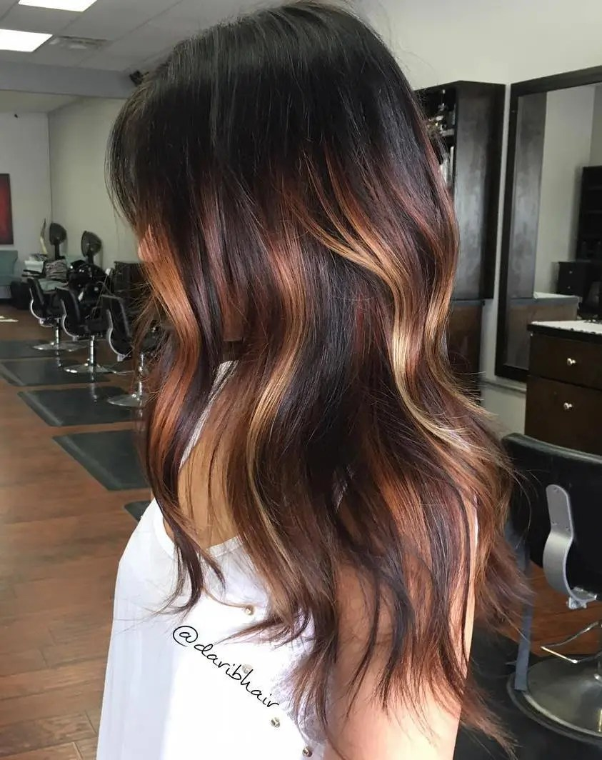 Chocolate Hair with Chunky Blonde Highlights