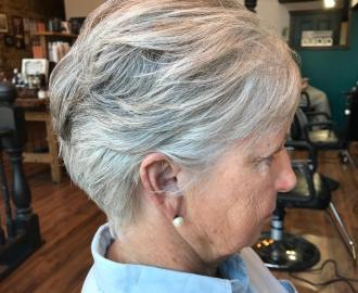 Short Tapered Feathered Hairstyle Over 70