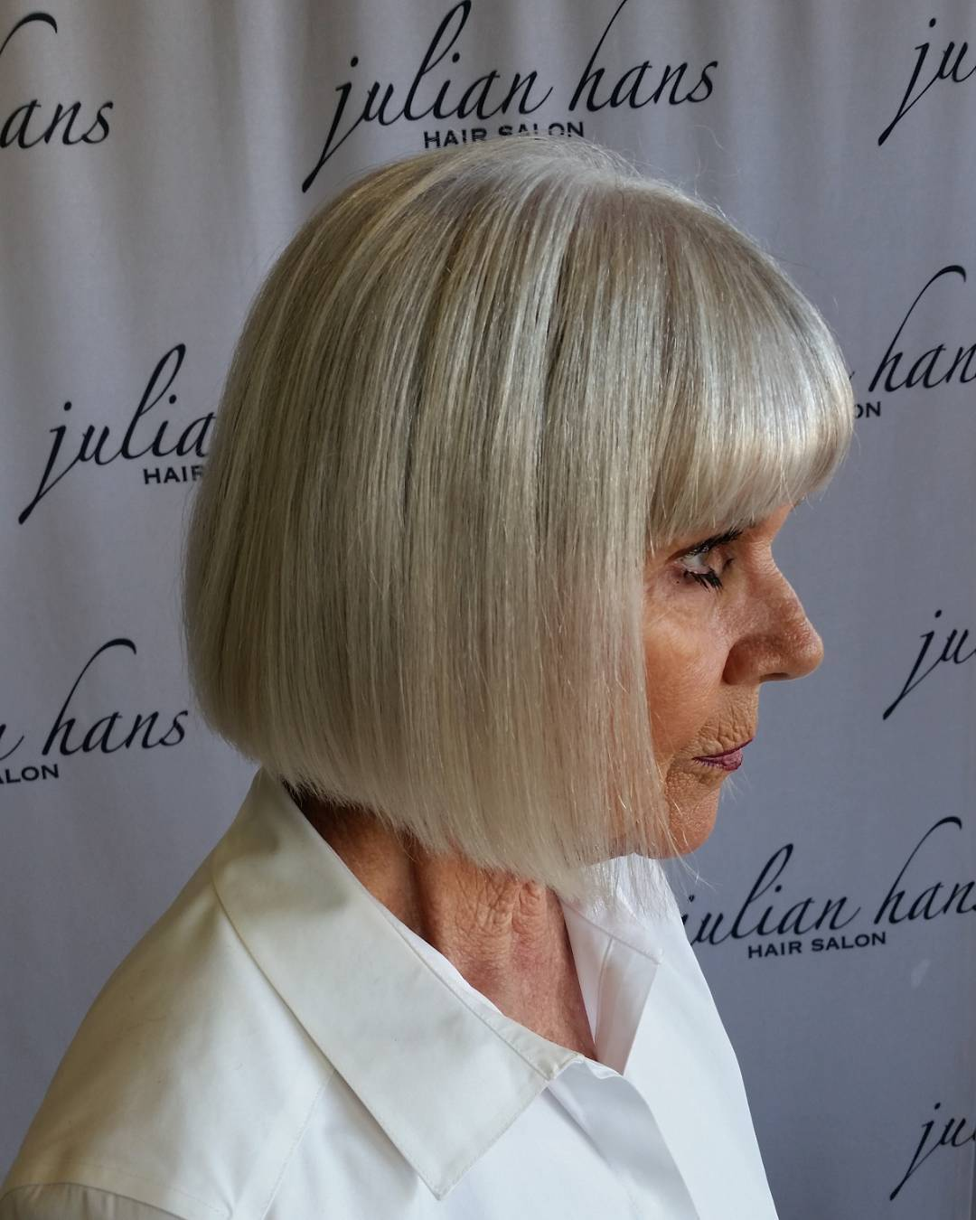 Sleek Blunt Bob with Full Bangs