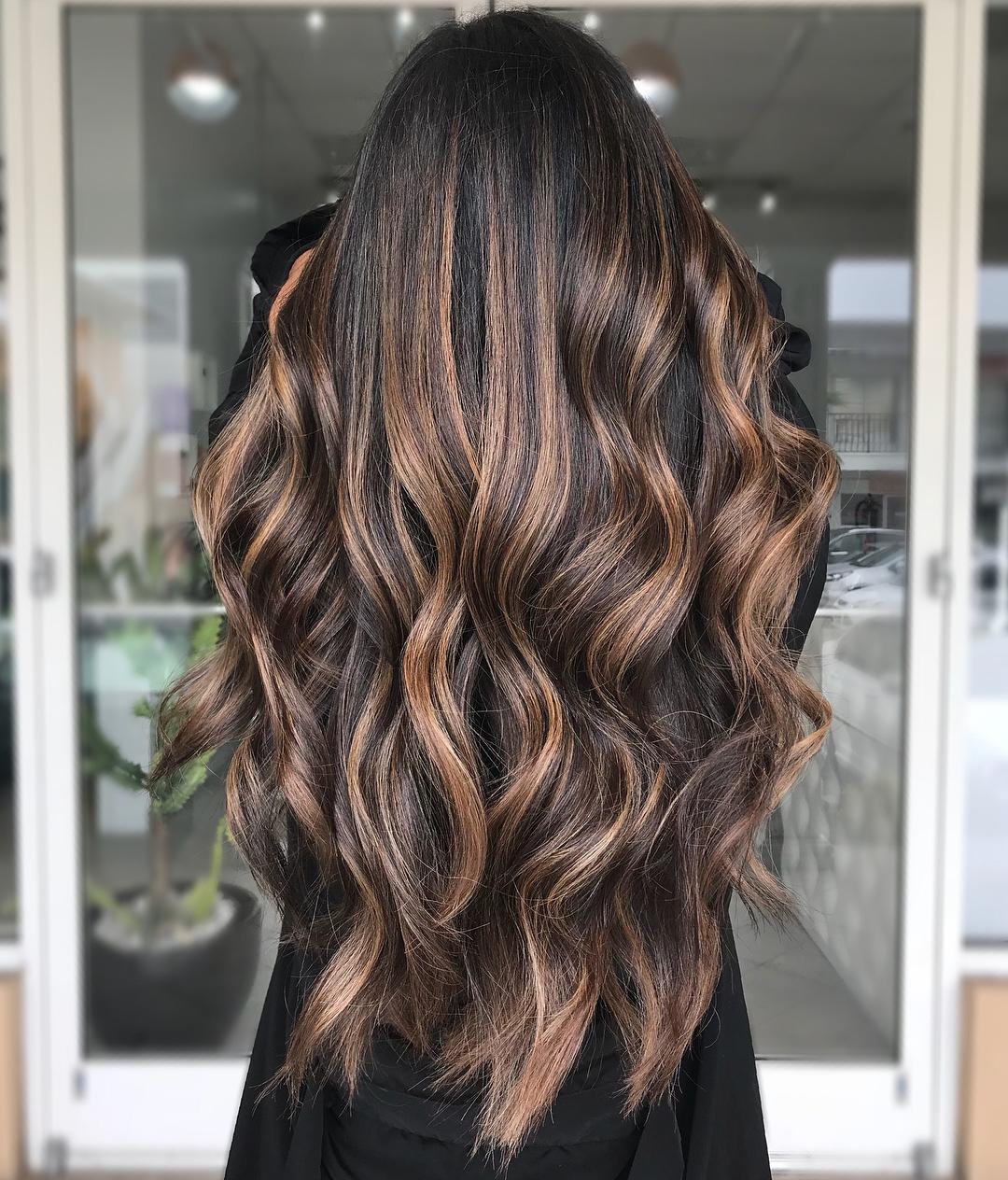 Long Chocolate Hair with Caramel Highlights
