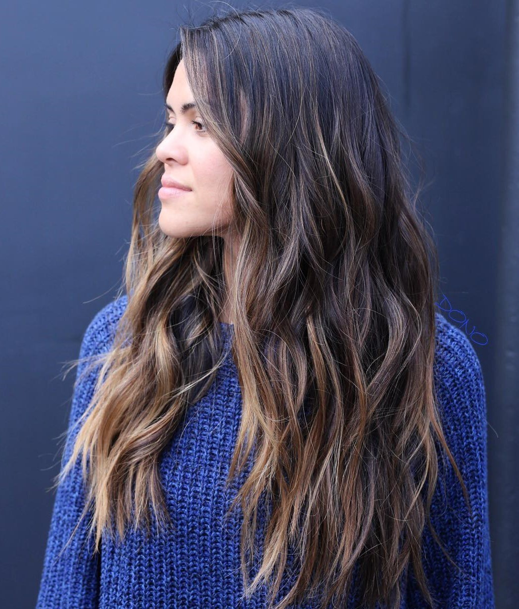Long Layered Hair with Razored Ends