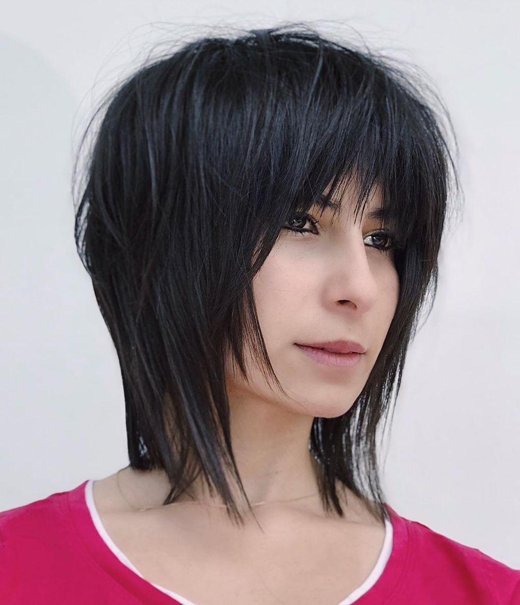 Choppy Medium Length Shag for Thick Hair