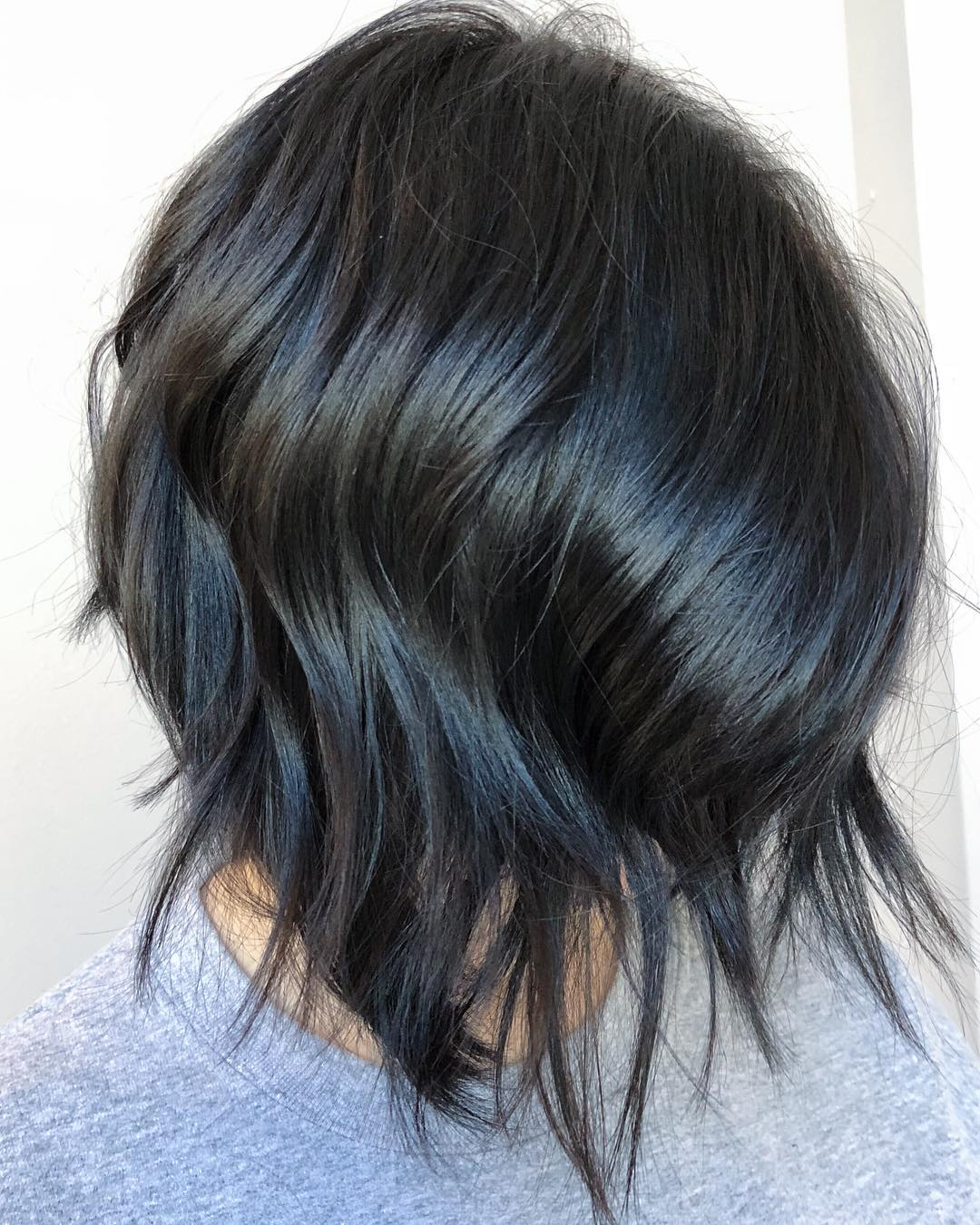 Inverted Razored Soft Black Colored Bob