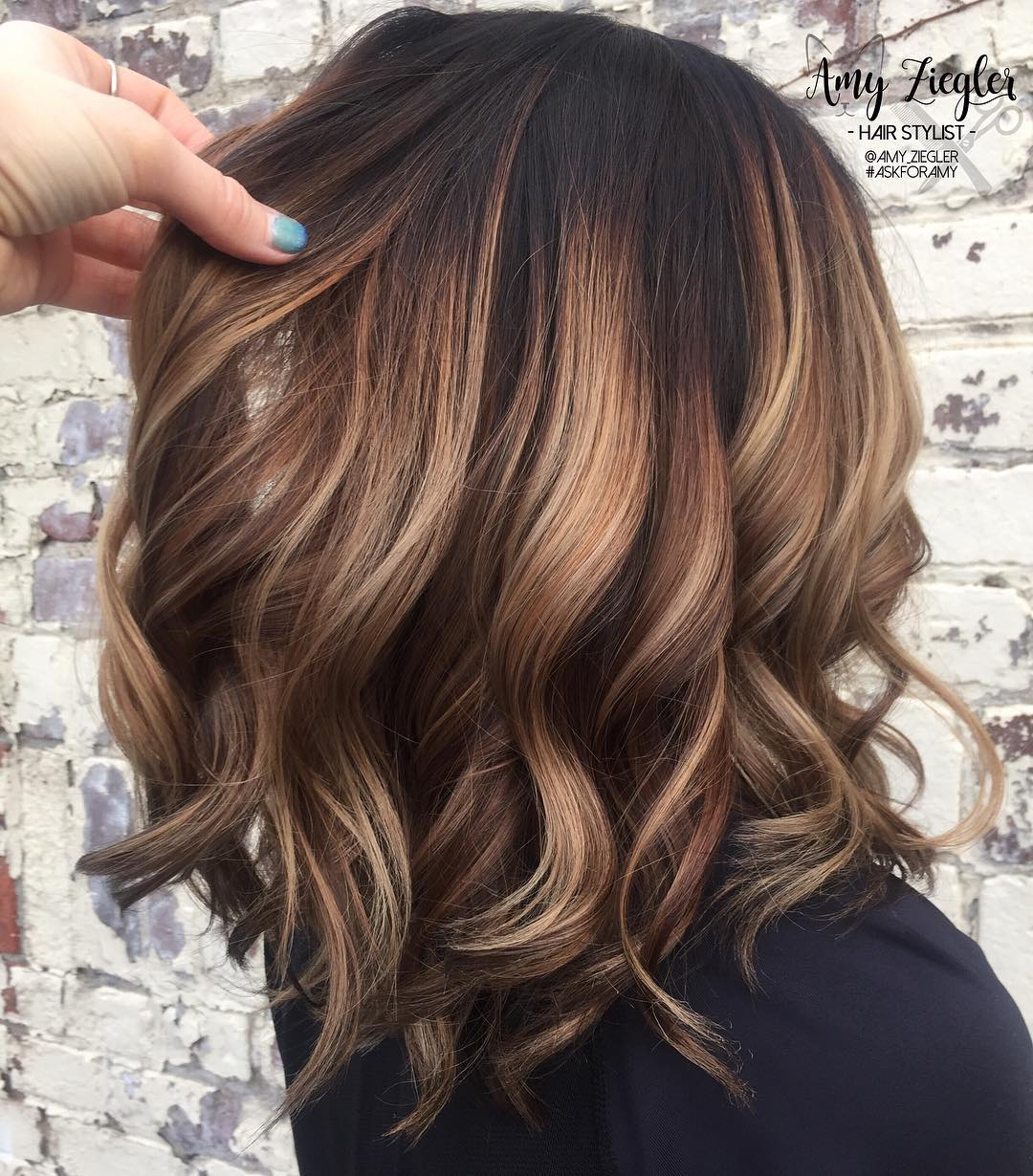 Wavy Chocolate Lob with Wide Highlights