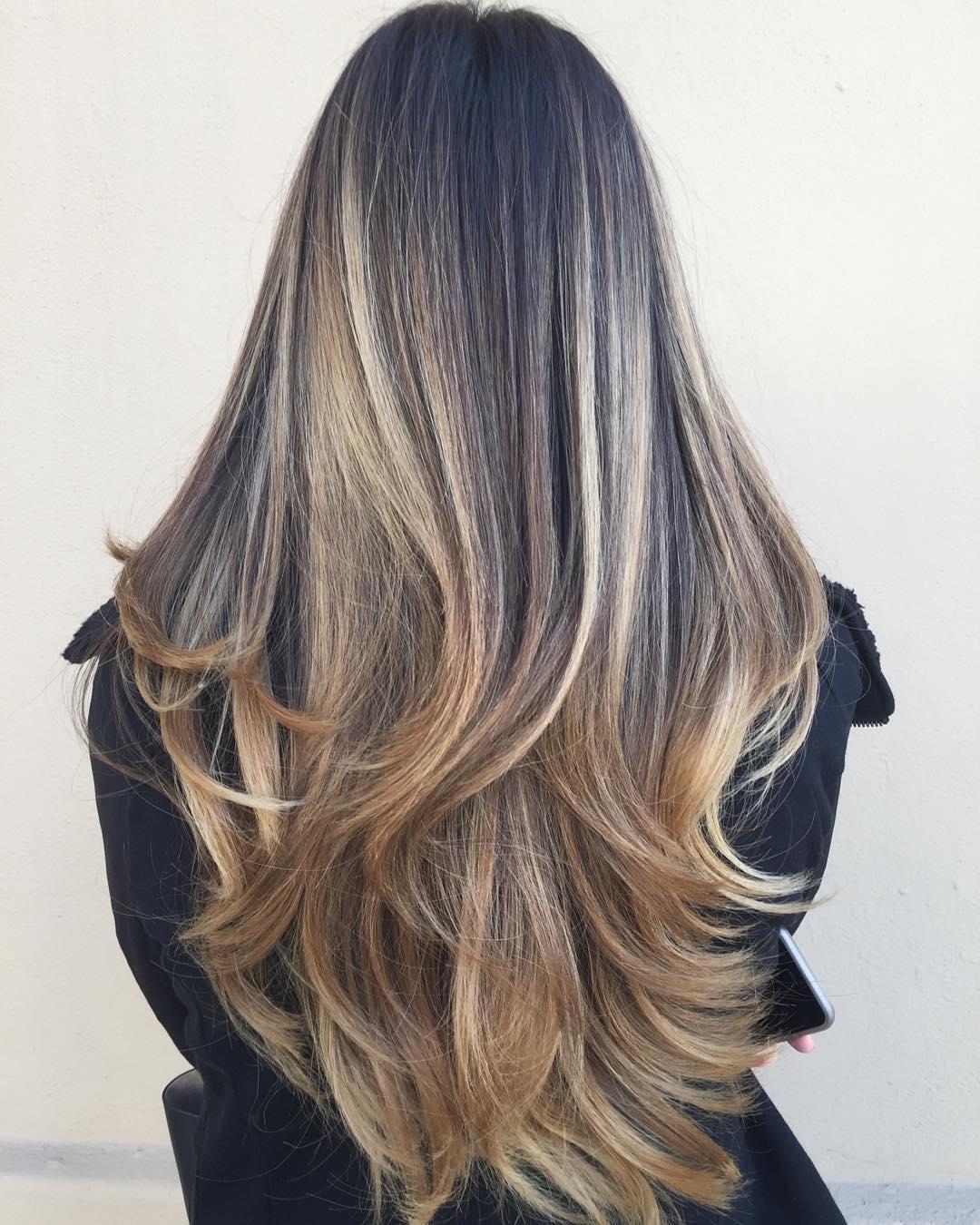 Long Layered High-Contrast Balayage Hair
