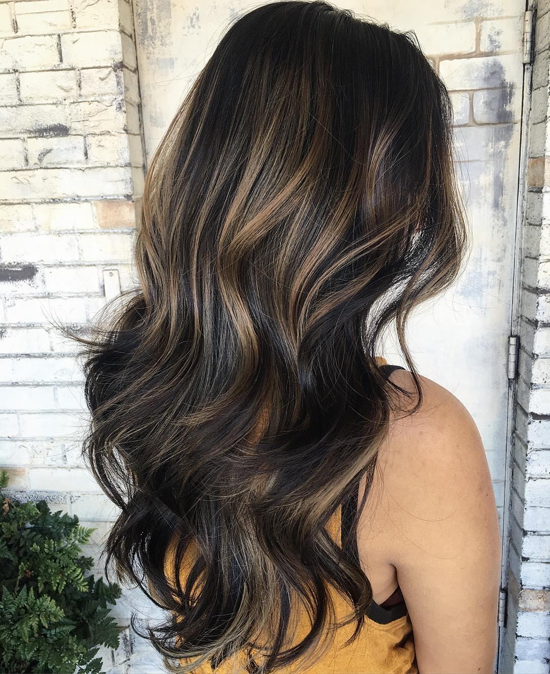 Dark Brown Hair with Subtle Honey Balayage