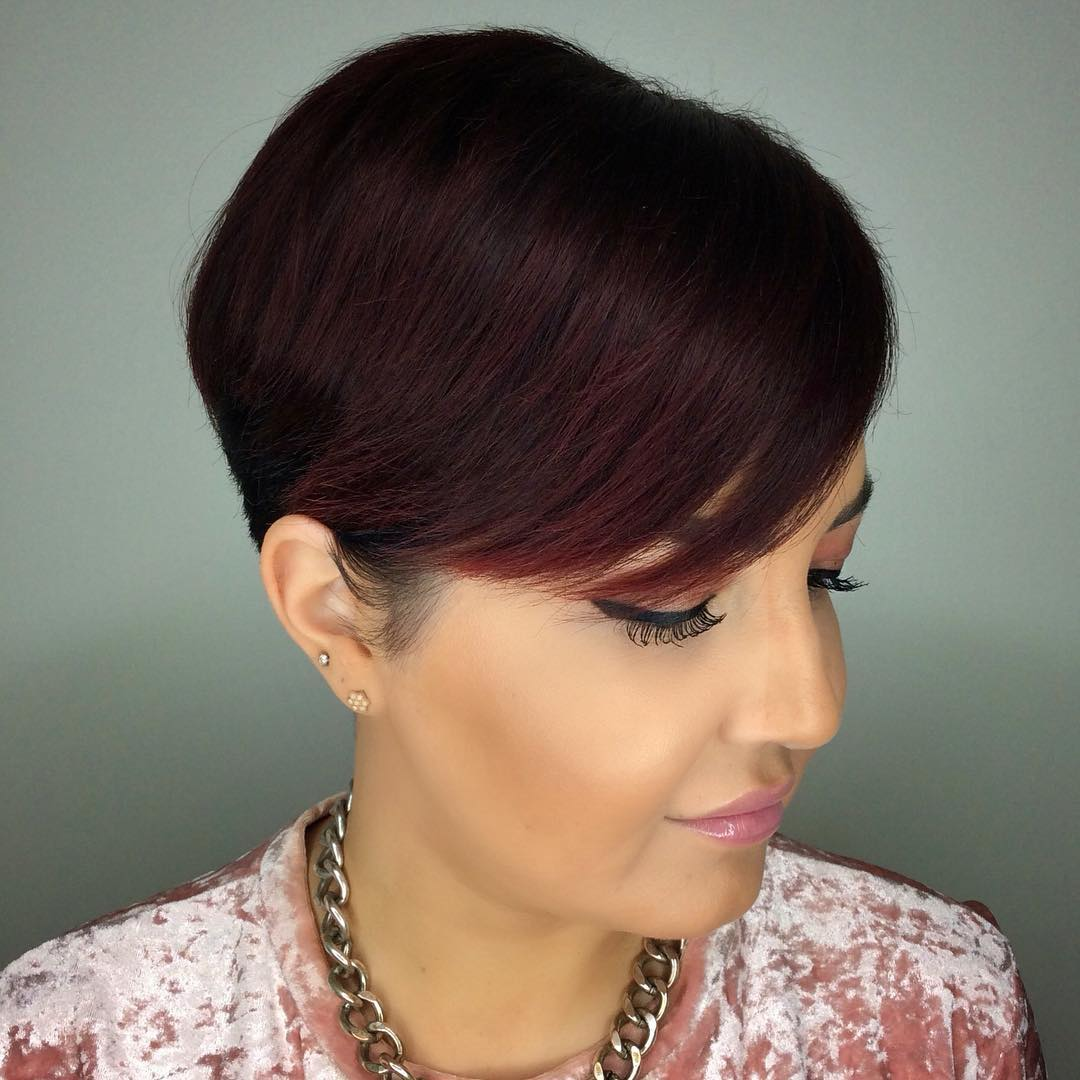 Pixie with Side-swept Bangs for a Round Face