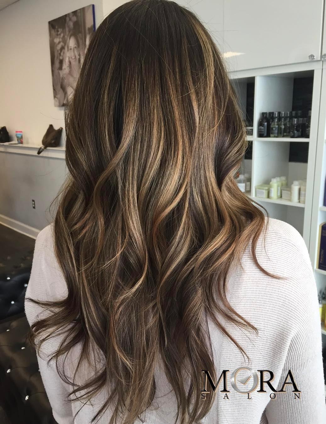 Brown Long Hair with Layers and Balayage