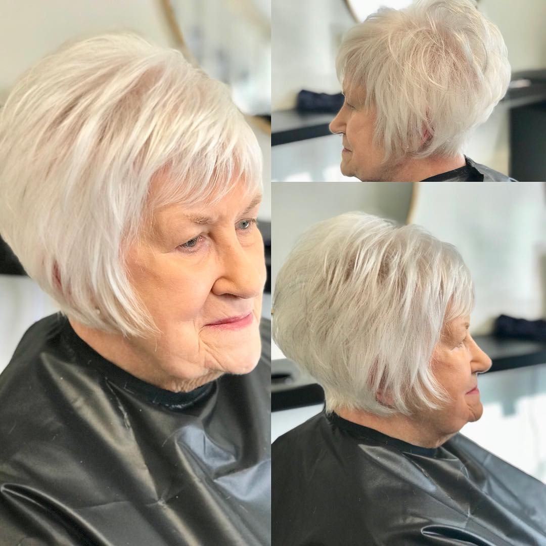 White Layered Bob for 70 and Up