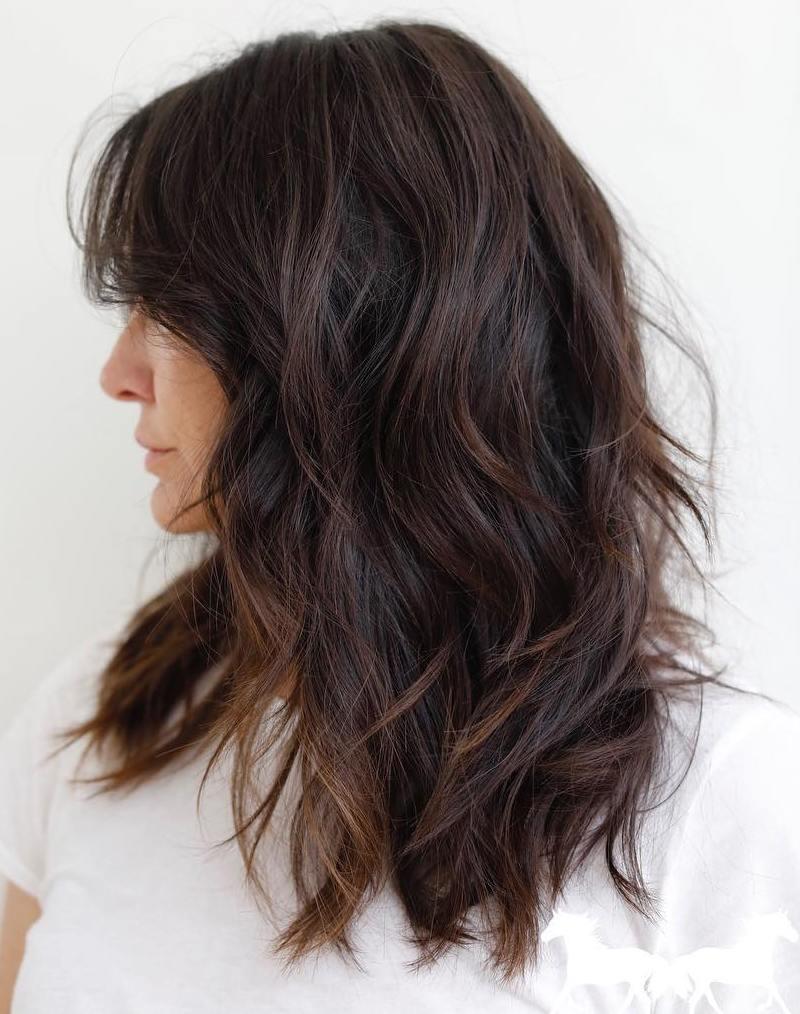 Shaggy Copper-Tinted Dark Chocolate Hair