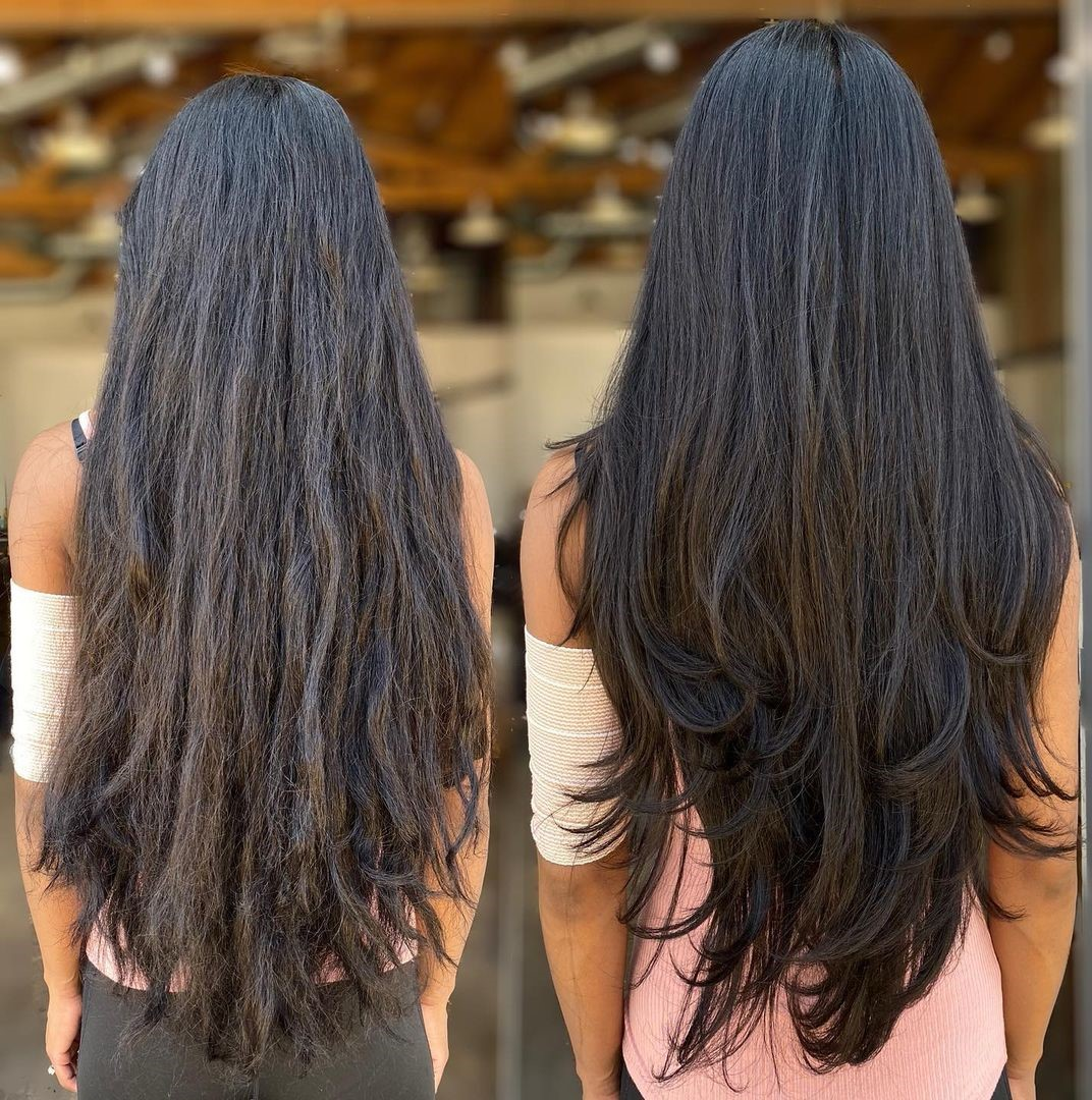 Long Layered Hairstyle with Jagged Ends